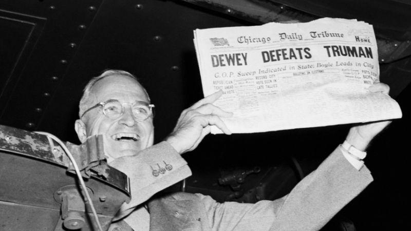 medios de comunicacion proyectaron elección presidente Truman en 1948